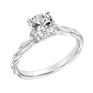 Diamond Engagement Ring with Petitie Twisted Polished Shank