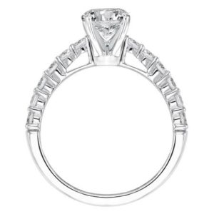 Diamond shared prong engagement ring