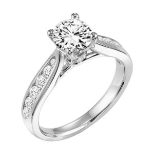 Channel Set Diamond Engagement Ring with Twisted Crown