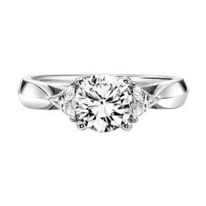 Three Stone Trillion Accented Diamond Engagement Ring