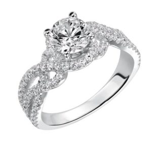 Modern woven diamond engagement ring