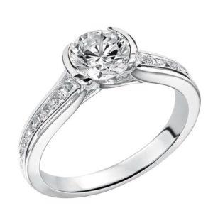 Bezel Set Diamond Channel Engagement Ring