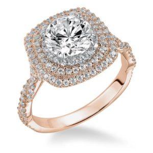 Triple Halo Diamond Engagement Ring with Twisted Diamond Shank