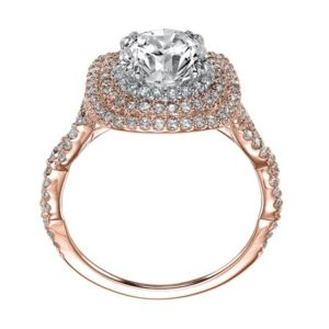 Double Halo Diamond Engagement Ring with Twisted Diamond Shank