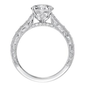 Engraved white gold diamond migrain engagement ring