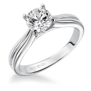 """Irene"" Grooved Solitaire Engagement Ring"