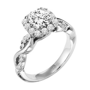 """Bella"" Modern Halo Engagement Ring with Diamond Enhanced Band"