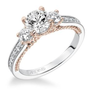 """Marlow"" Three Stone Diamond Two Tone Engagement Ring"