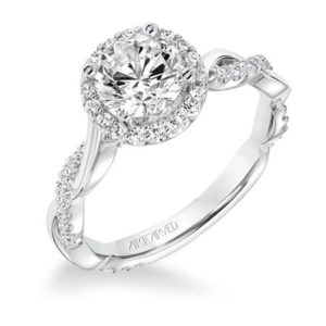 """Kinsley"" Contemporary Twisted Diamond Halo Engagement Ring"