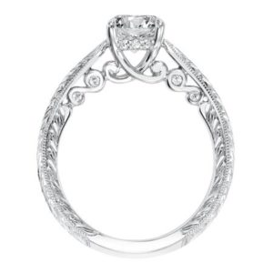"""Anwen"" Hand Engraved Engagement Ring with Scroll Details and Hidden Diamond Accents"