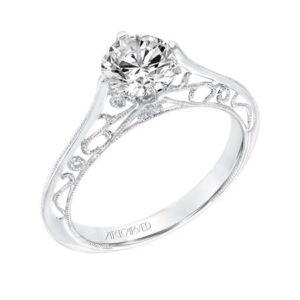 """""""Laurette"""" White Gold Filigree Engagement Ring"""