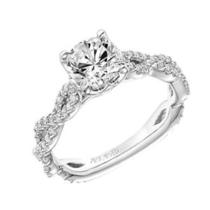 """Sweetpea"" Twisted Diamond Shank Engagement Ring"
