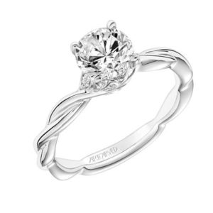 """Aster"" Twisted Engagement Ring with Diamond Leaf Crown"