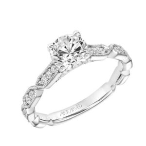 """Cressida"" Vintage Milgrain Diamond Engagement Ring"