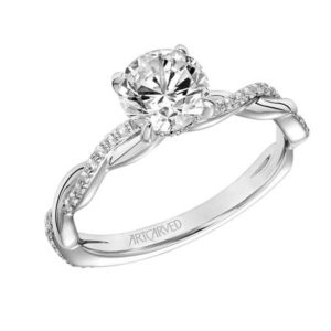 """Cassidy"" Twisted Diamond and White Gold Engagement Ring"