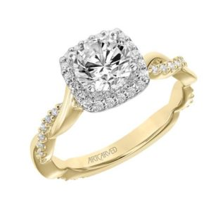 """Ciara"" Diamond Twisted Shank Halo Engagement Ring"