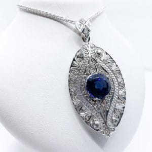 Tanzanite and Diamond Convertible Estate Pendant