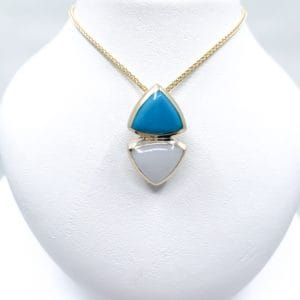 Estate Turquoise and Mother of Pearl Pendant