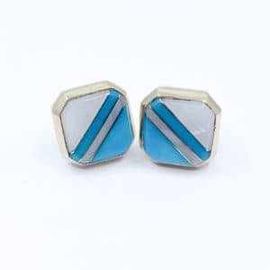 Estate Turquoise and Mother of Pearl Earrings