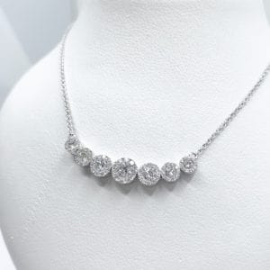 Diamond Halo Journey Necklace
