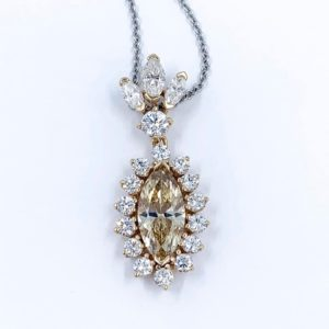 Estate-Champagne Marquise Diamond Pendant