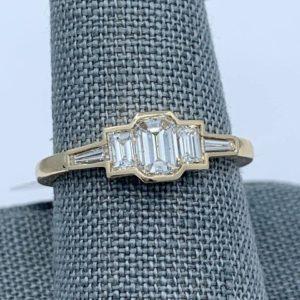 Custom Emerald Cut Diamond and Baguette Ring