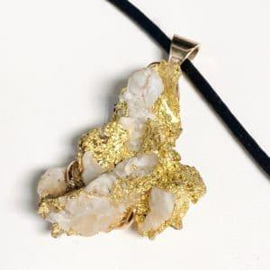 Natural Gold Nugget and Quartz Pendant
