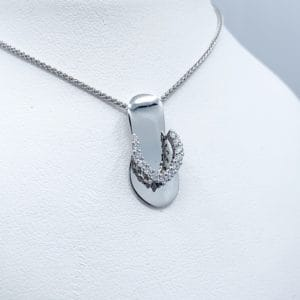White Gold and Diamond Flip Flop Pendant