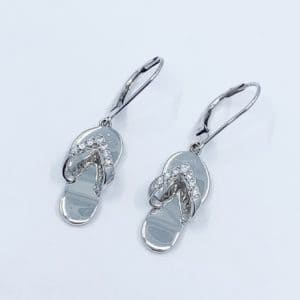 White Gold and Diamond Flip Flop Earrings