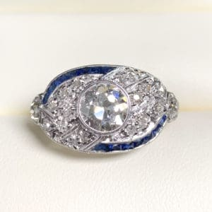 Old European Diamond and Sapphire Estate Ring