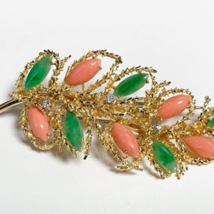 Antique Coral And Jade Brooch