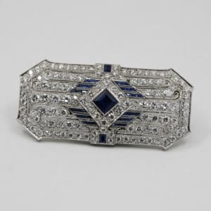 Sapphire and Diamond Antique Brooch