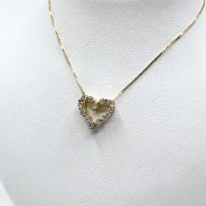18k Gold Diamond Heart Pendant
