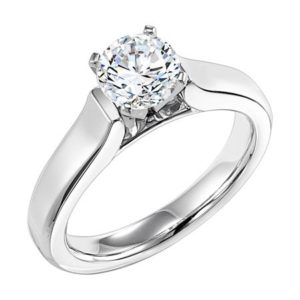 14k White Gold Cathedral Solitaire