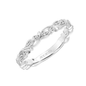 14k White Gold Floral Diamond Band