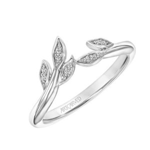 14k White Gold Diamond Leave Band