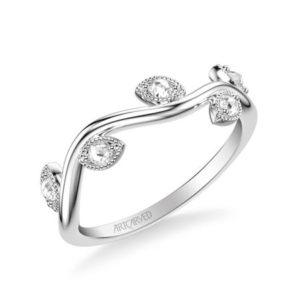 Leaf Design .15 ctw Rose Cut Diamond Band