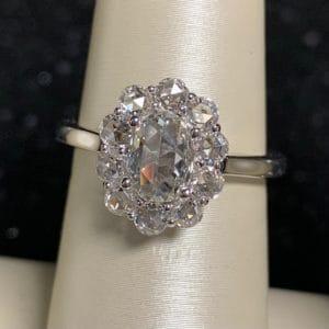 14k White Gold Rose Cut Diamond Halo Ring