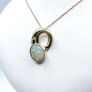 Free Form Opal and Diamond Estate Pendant