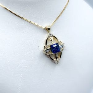 14k Yellow Gold Sapphire & Diamond Pendant