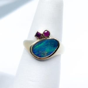Estate Opal Doublet and Ruby Ring