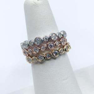 Bezel Design Stackable Diamond Bands