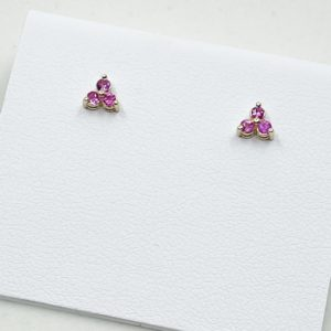 Dainty Three Stone Pink Sapphire Earrings