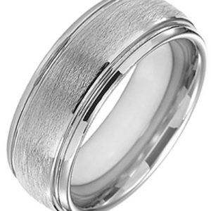 Domed Tungsten Ring with Polished Edge