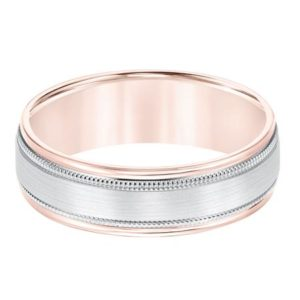 Rose and White Gold Comfort Fit Wedding Band