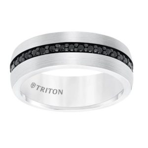 White Tungsten Band with Black Sapphire Inlay