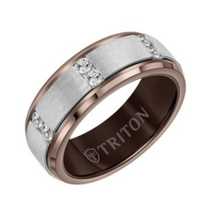 Black or Espresso Tungsten Diamond Ring