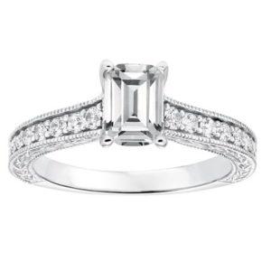 Hand Engraved Emerald Cut Diamond Engagement Ring