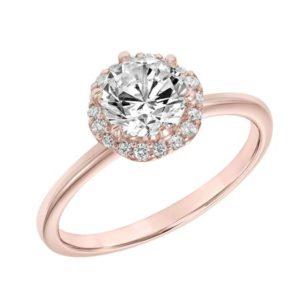Diamond Scalloped Halo Engagement Ring