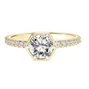 Hexagon Bezel Diamond Engagement Ring